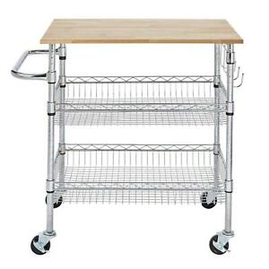 Details About All In One Rolling Large Kitchen Cart W Rubber Wood Top Cutting Board Trolley