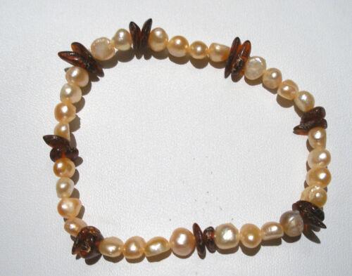Suave melocotón de agua dulce perla y ámbar Chip con cuentas de piedras preciosas Pulsera Elástica BNWOT