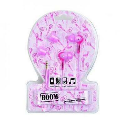 Urbanz Boom In Ear Canal Bud Stereo Headphones for iPod & Mp3 Player Pink Pouch
