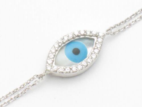 PLATINUM SILVER DIAMOND SET PAVE WHITE SAPPHIRE PEARL EVIL EYE HAMSA BRACELET