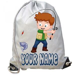 BOYS Kids Personalised Fishing Sport Gym BAG for Swim Football Nursery PE School