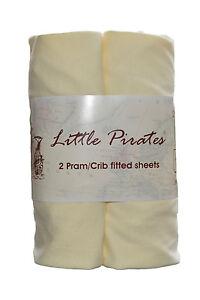 2-x-Baby-Pram-Crib-Moses-Basket-Jersey-Fitted-Sheet-100-Cotton-Cream-40x90cm