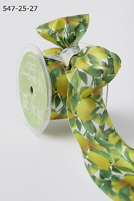 """MAY ARTS~LEMON LEAVES RIBBON~WIRE EDGE~YELLOW-GREEN-WHITE~2 /&1//2/"""" WIDE X 1 YD!"""