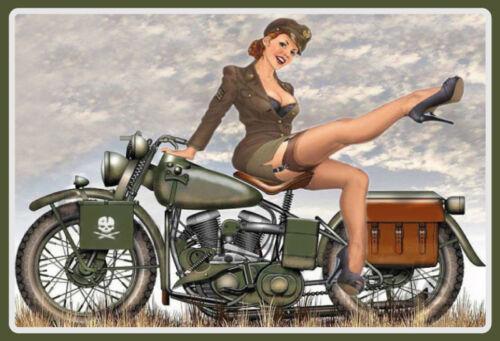 US Army Biker Pin up Girl Tin Sign Shield Arched Metal Tin Sign 20 X 30 CM