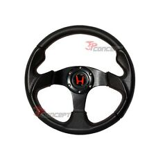 For 96-00 Civic 320MM Black PVC Red Stitch Steering Wheel + Hub Adapter