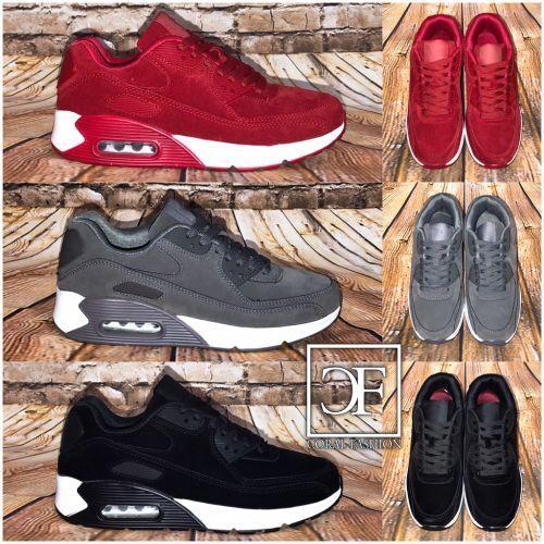 Sneakers in 3 Farben UNISEX Rauleder-Look AIR Sportschuhe