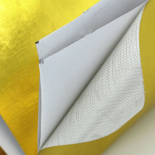 "24/"" x 12/"" Self Adhesive Reflective Gold High Temperature Heat Shield Wrap Tape"