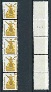 Bund-1380-R-I-postfrisch-Fuenferstreifen-Rollenmarken-BRD-5-er-Streifen-MNH