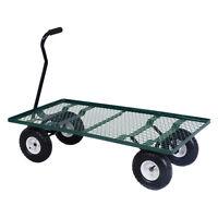 Wagon Garden Cart Nursery Steel Mesh Deck Trailer Cart Yard Gardening Heavy Duty