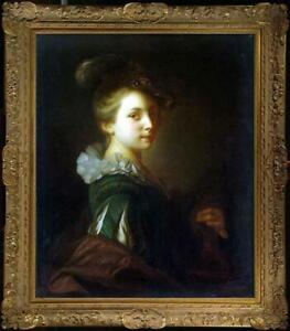 "Old Master-Art Antique Oil Painting Portrait noblewoman girl on canvas 30""x40"""