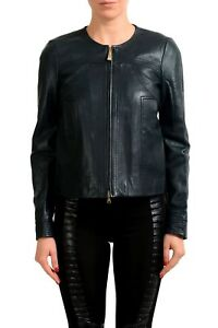 Just-Cavalli-Women-039-s-Deep-Forest-Green-100-Leather-Jacket-US-S-IT-40