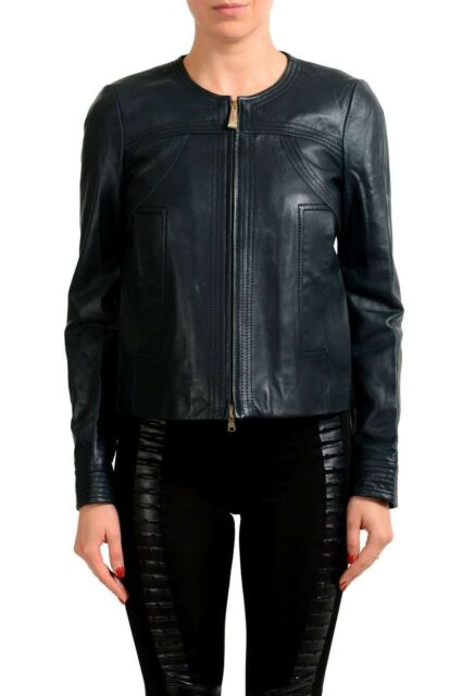 Just Cavalli Women's Deep Forest Green 100% Leather Jacket US S IT 40