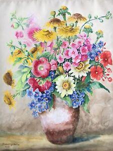 Prunkstillleben-mit-Blumen-Sommertsraus-1951-Aquarell-signiert-46-x-36-5-cm