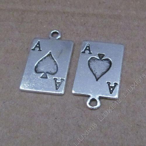 15pc Tibetan Silver Poker cards Pendant Charms Beads Jewellery Accessories PJ623