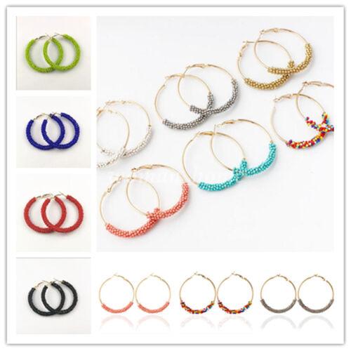 Charm Handmade Seed Bead Wrapped Hoop Round Earring Stud Fashion Women Jewelry