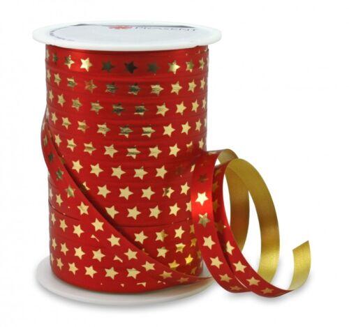 Kräuselband 100m x 10mm Ringelband CHRISTMAS STAR Rot Geschenkband ...