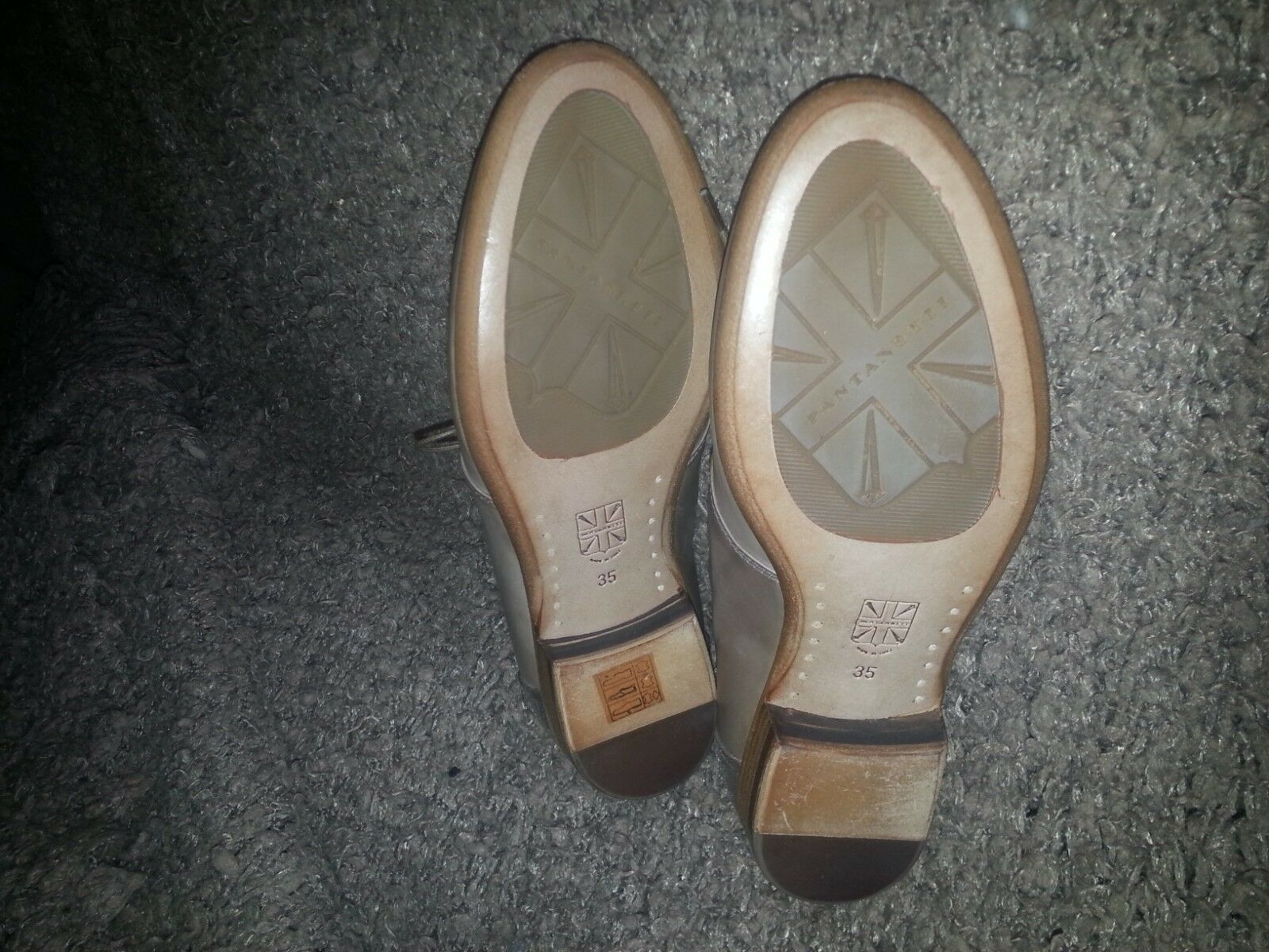 PANTANETTI-Lace Up Up Up Loafers-Taupe Tan W Metallic Detail-Taille 35-Excellent 3b18c3