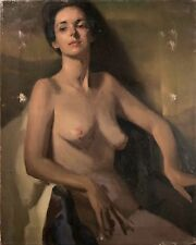 "Nelson Shanks Original Oil Painting ""Nude Female Portrait"", Rare & Stunning!1965"