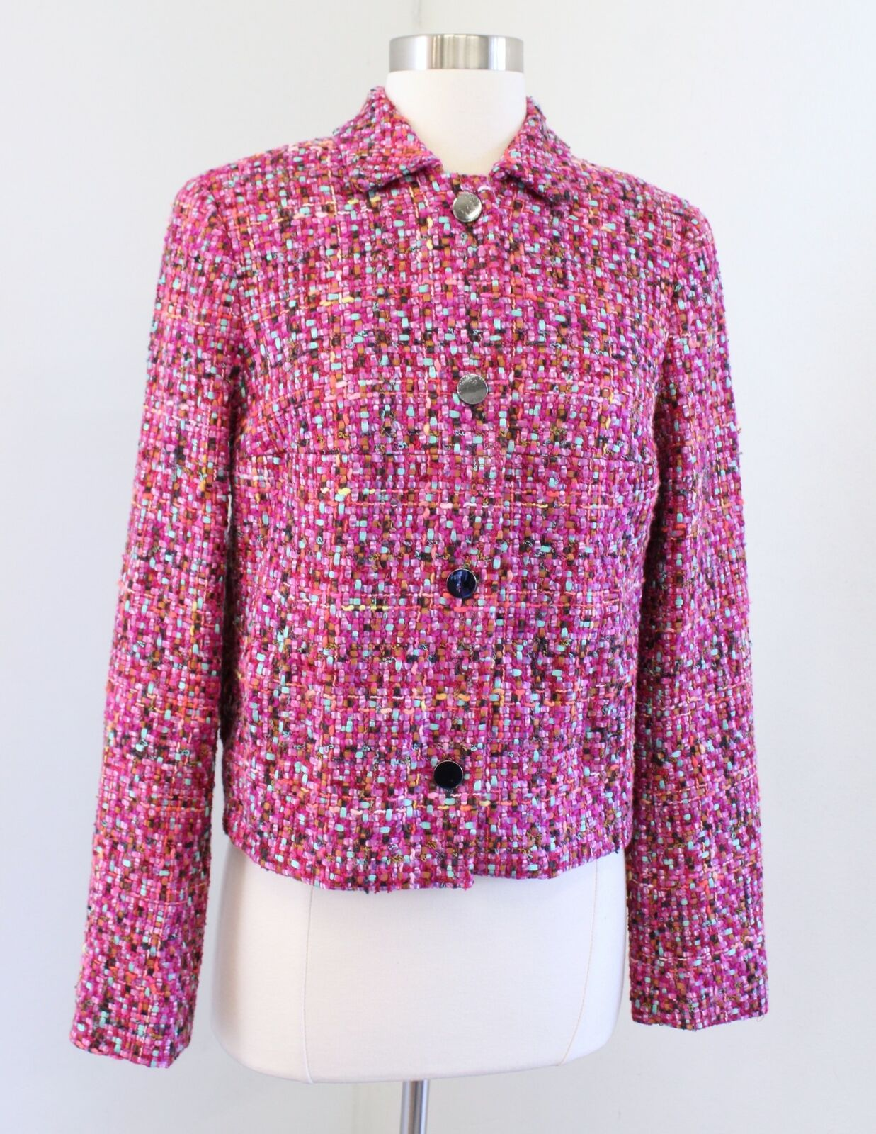 Carlisle Collection Pink Multi Color Woven Tweed Pleated Blazer Jacket Size 2