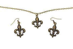 Details About Emblem Dangling Earrings Necklace Set Boy Scout Hipster Antique Bronze Charm