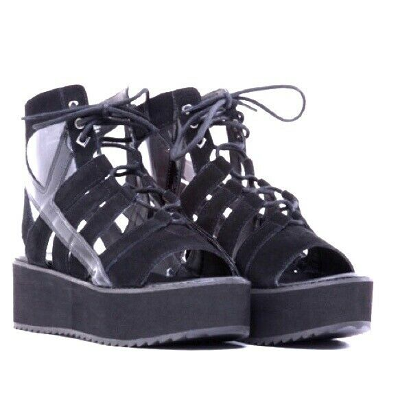 Y.R.U. Medusa Lo Lo Lo Black Platform Open Toe shoes U.K. size 9 257814
