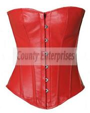 Full Steel Bone Spiral Victorian Overbust Bustier Gothic Red Real Leather Corset