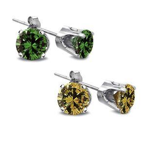 1-2-Ct-Green-or-Yellow-or-Diamond-14K-Gold-Stud-Earrings
