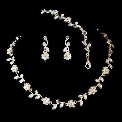 3 pcs Bridal Lifetime Goldplated AB & Clear Crystal Flower Floral Necklace Set