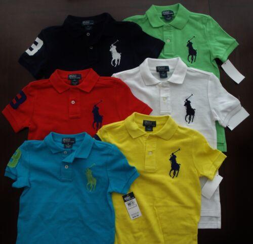 NWT Ralph Lauren Boys S//S Big Pony Solid Mesh Polo Shirt 2//2t 3//3t 24m NEW $40