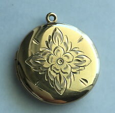 Vintage A&Z 12K Yellow Gold Filled Circle Locket Pendant w Engraved Flower