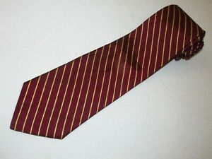 New-Brooks-Brothers-Tie-Maroon-Gold-Stripe-Designer-Necktie-Mens-Woven-Jacquard