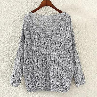 Women's Hollow Out V-Neck Sweater Bat Long Sleeve Loose Tops Jumper Kintwears