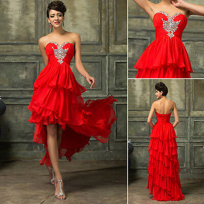 2016 RED Short Bridesmaid Homecoming Evening Ball Gown Party Formal Prom Dresses