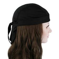 Sweatband Skull Bandana Du Do Doo Rag Cap Head Wrap Biker Cotton Blend Black New