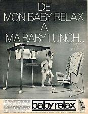 PUBLICITE ADVERTISING 065  1966  BABY RELAX  siège & chaise de table bébé