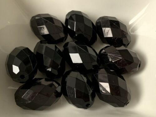 Acryl Perlen Oval schwarz 10 Stück 30 x20 mm Spacer Basteln Schmuck Basteln V129