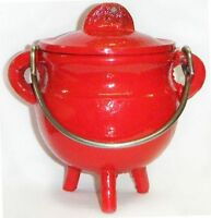 3.5  Cast Iron Red Cauldron Incense Burner Pot Belly Free Priority Shipping