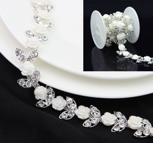 1 Yard White Rose Silver//Gold Leaf Rhinestone Trim Applique Wedding Dress Belt