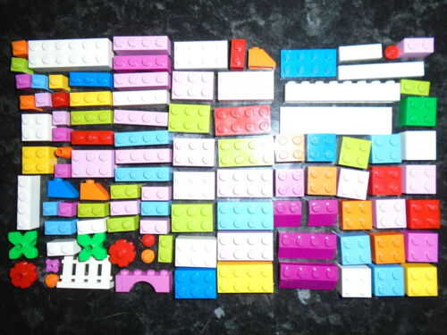 100 Lego Bricks /& Pieces In Girls Colours Various Shapes /& Sizes.
