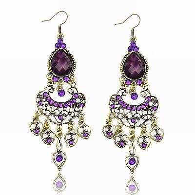 Purple Resin Heart Love Crystal CZ Water Drop Tassel Fringe Dangle Hook Earrings