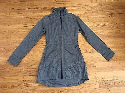 Athleta Womens Denim Blue Nylon Water Repellent Long Zip Jacket Sz Xxs Modern Techniques