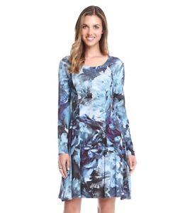 a7ad4fc7b8 Karen Kane New Women s Polar Blue Floral Long Sleeve Knit Dress Size ...