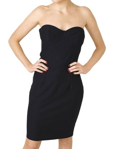 Ex Topshop New Black Strapless Panelled Stretch Fit Bodycon Dress Party Prom