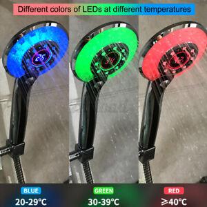 Shower Head LED Light Water Saving Bathroom Tool Temperature Control 3 Colors US