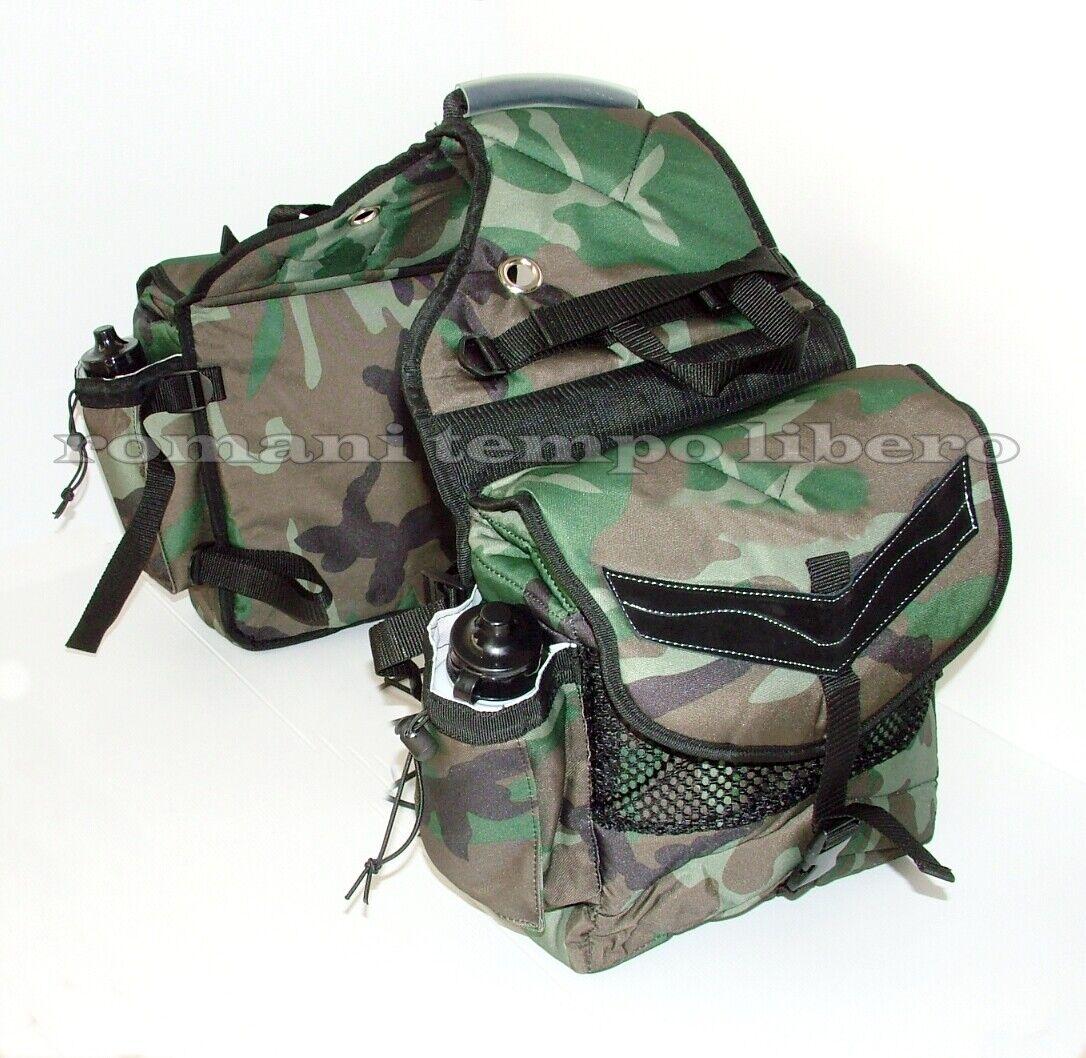 Bisacce mimetiche posteriore per cavallo  con borracce Rear camouflage saddleBolsos  en linea