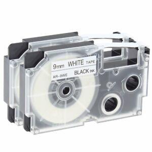 2-PK-XR-9WE-Label-Tape-Compatible-for-Casio-Black-on-White-9mm-KL100-KL120