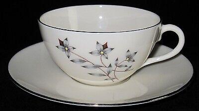 Lenox-PRINCESS-X516-Gray-amp-Tan-Floral-Cup-amp-Saucer-Set