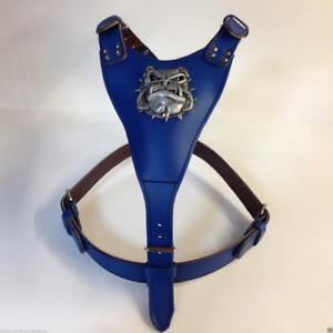Harnais en cuir très grand fabriqué à la main avec le motif Bulldog de dessin animé