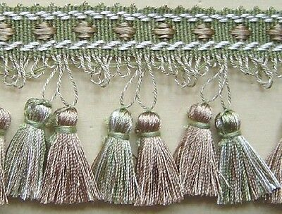 "3"" Tassel Fringe Trim Green, Beige and White have Matched Braid"