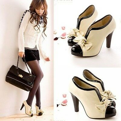 Fashion bowknot Women's sexy high heel beige tie  ankle shoes size US5-9.5